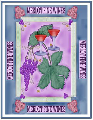Merlot Fine Wines Orchard Box Label Art Print by Anne Norskog