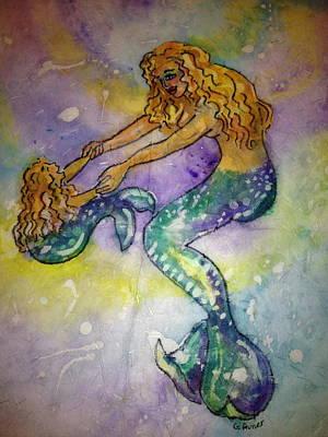 Mermaid And Child Art Print by Gloria Avner