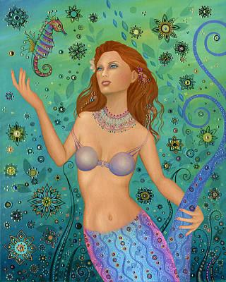Mermaid And Seahorse Art Print by B K Lusk