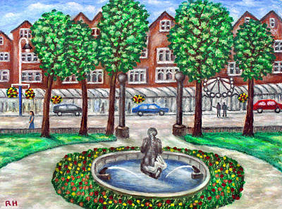 Mermaid Painting - Mermaid Fountain  - Lord Street - Southport by Ronald Haber