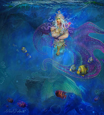 Print featuring the painting Mermaid Prince by Steve Roberts