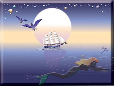 Mermaid Digital Art - Mermaid Search by Jack Potter