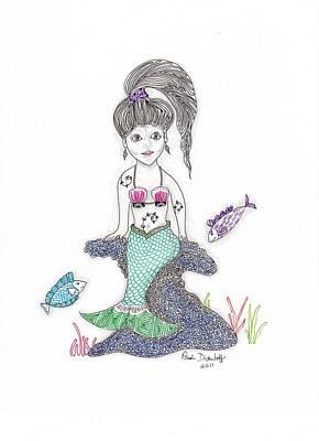 Zia Drawing - Mermaid Under The Sea by Paula Dickerhoff
