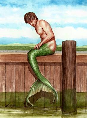 Painting - Merman On The Dock by Bruce Lennon