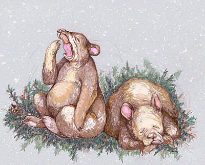 Brown Bear Drawing - Merry Christmas And Goodnight by Peggy Wilson