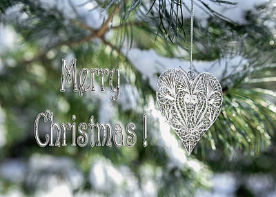 Photograph - Merry Christmas Card With Heart Ornament On Snowy Tree by Marianne Campolongo