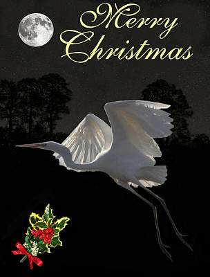 Mixed Media - Merry Christmas Great Egret In Flight by Eric Kempson