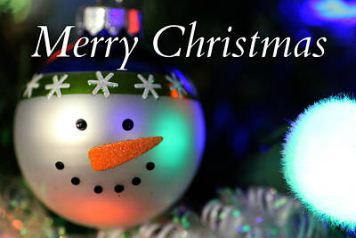 Photograph - Merry Christmas Snowman Ornament by Mark J Seefeldt