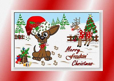 Dog In Snow Digital Art - Merry Freakin' Christmas by Madeline  Allen - SmudgeArt