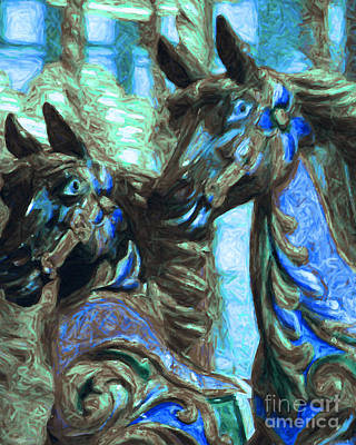 Playground Digital Art - Merry Go Around Horses - Painterly - Blue by Wingsdomain Art and Photography