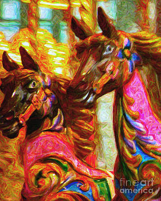 Playground Digital Art - Merry Go Around Horses - Painterly by Wingsdomain Art and Photography