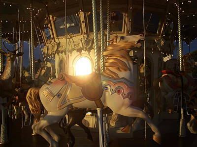 Merry Go Round At Sunset Art Print by Steve Huang