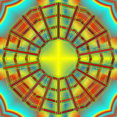 Kaleidoscope Digital Art - Merry Merry Go Round by Mario Carini