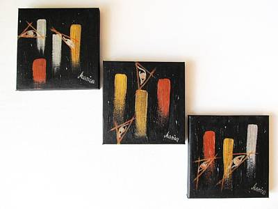 Visionary Artist Painting - Message From The Future - Set Of 3 by Marianna Mills