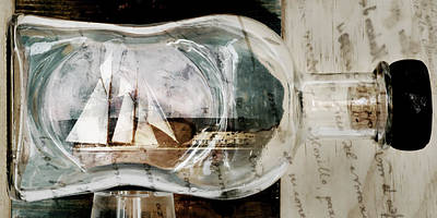 Ship In A Bottle  - Message In A Bottle Of A Two Mast Vessel Ready To Sail Seven Seas And More by Pedro Cardona Llambias