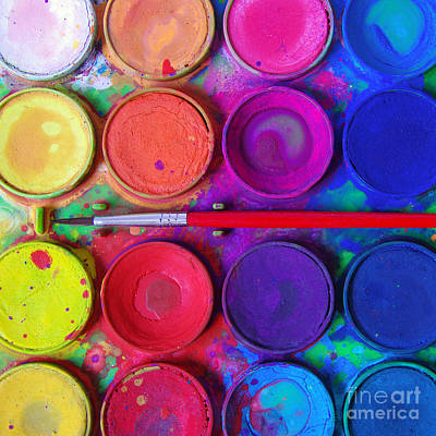 Colored Photograph - Messy Paints by Carlos Caetano