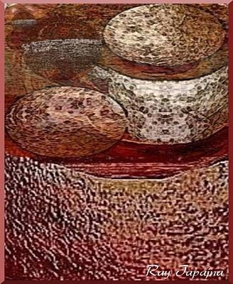 Print featuring the mixed media Metal Art Rocks by Ray Tapajna