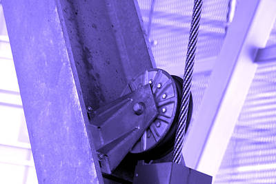 Hues Of Purple Photograph - Metal Pulley And Cable by Kym Backland
