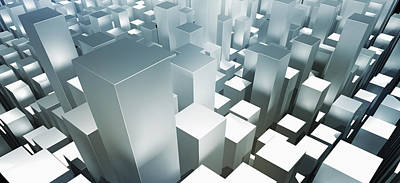 Focus On Foreground Digital Art - Metallic Gray Three Dimensional Rectangular Shapes by Ralf Hiemisch