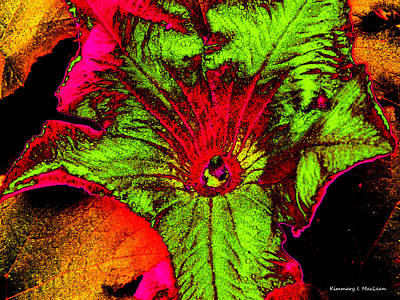 Digital Art - Metallic Pumpkin Flower by Kimmary MacLean