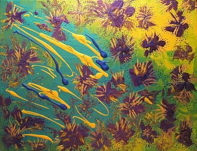 Metallic Waterlilies Art Print by Sharon  De Vore