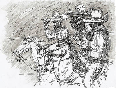 Drawing - Mexican Charros by Dean Gleisberg
