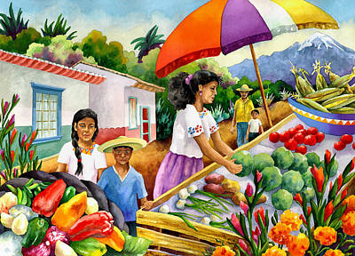 Marketplace Painting - Mexican Marketplace by Anne Gifford