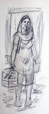 Senorita Drawing - Mexican Woman by Bill Joseph  Markowski