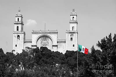 Art Print featuring the photograph Mexico Flag On Merida Cathedral San Ildefonso Town Square Color Splash Black And White by Shawn O'Brien