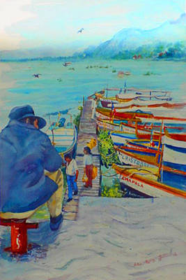 Mexican Decoration Painting - Mexico Lake Chapala by Estela Robles