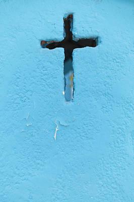 Mexico, Quintana Roo, Yucatan Peninsula, Isla Mujeres, Cross Shape On Blue Wall Art Print by Bryan Mullennix