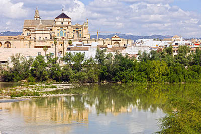 Mezquita Cathedral By The River In Cordoba Art Print