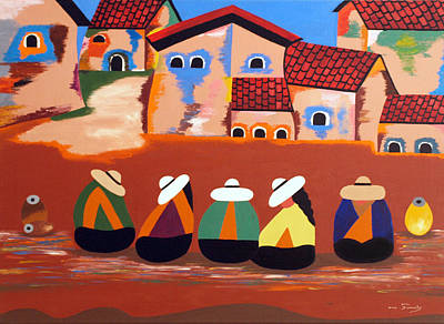 Poncho Painting - Mi Mejor Regalo by Damaris Munoz Arias