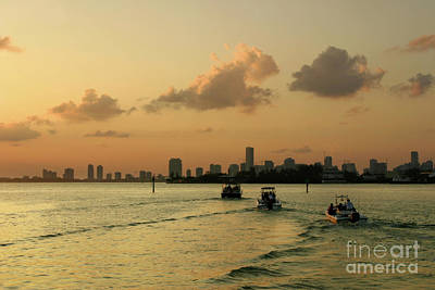 Sunset Photograph - Miami And Biscayne Bay At Sunset by Matt Tilghman