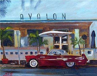Painting - Miami Beach Avalon Thunderbird by Maria Soto Robbins