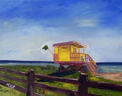 Miami Beach Lifeguard Shack  Art Print by Maria Soto Robbins