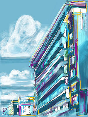 Mixed Media - Miami Hotel by Russell Pierce