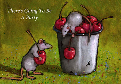 Pastel - Mice With Cherries Party Invitation by Joyce Geleynse