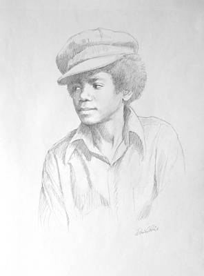 Jackson Drawing - Michael In Cap by David Price