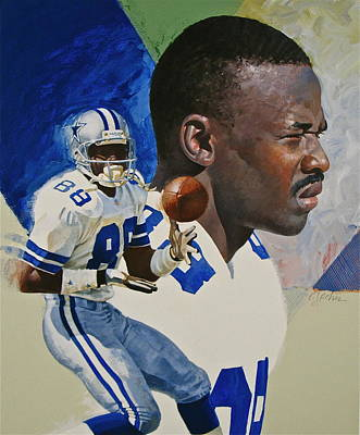 Michael Irvin Art Print by Cliff Spohn
