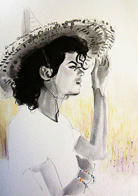Straw Hat Drawing - Michael Jackson - One Day In Your Life by Hitomi Osanai