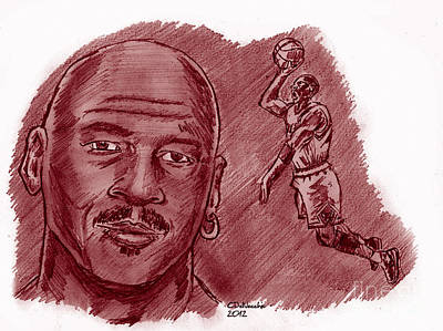 Drawing - Michael Jordan by Chris  DelVecchio
