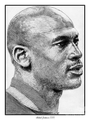 Art Print featuring the drawing Michael Jordan In 1990 by J McCombie