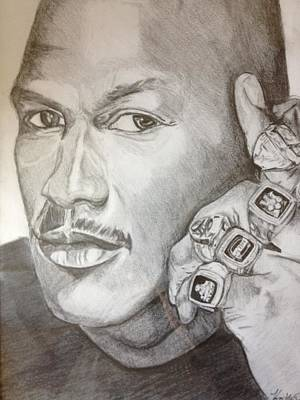 Michael Jordan Six Rings Legacy Art Print by Keith Evans