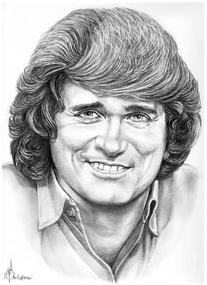 Famous People Drawing - Michael Landon by Murphy Elliott