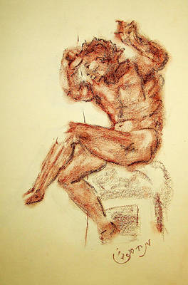 Figure Drawing - Michelangelo Sketch In Terra Cotta Chalk Drawing On Textured Paper Of Nude Male Sistine Chapel by MendyZ M Zimmerman