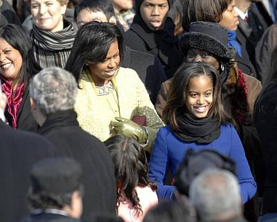 Obama Family Photograph - Michelle Obama And Daughters Malia by Everett
