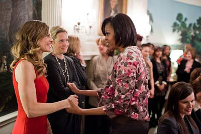 Michelle Obama Greets Actress Hilary Art Print by Everett