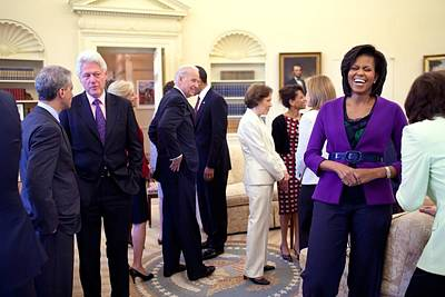 Michelle Obama Laughs With Guests Art Print
