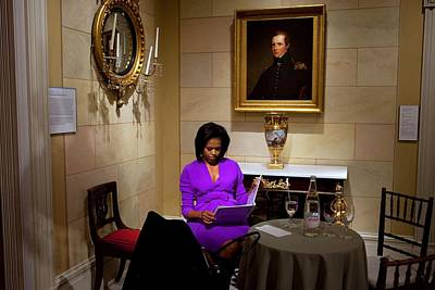 Michelle Obama Prepares Before Speaking Art Print by Everett
